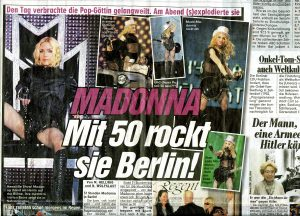 Alexandra (far right), sharing the front of a Berlin newspaper with Madonna